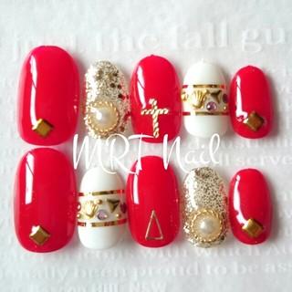ジェル済✨赤♡シェル💕ビジューネイル♪