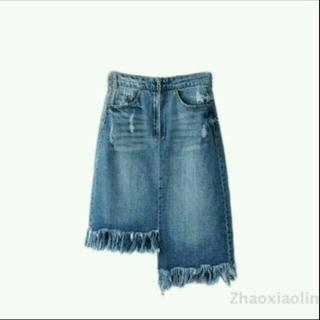シーエヌ(CN)のハイウエスト・左右非対称スカート♡(ひざ丈スカート)