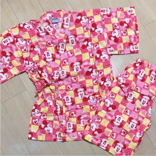 ディズニー(Disney)のミニーちゃん甚平 フリーサイズ 美品(浴衣)