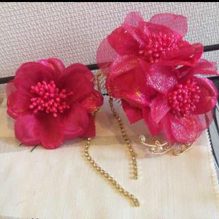 フリフ(ふりふ)の花飾り ヘアアクセサリー  かんざし 結婚式 卒業式 成人式(ヘアアクセサリー)