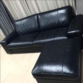 イケア(IKEA)の【美品】IKEA シーヴィク KIVIK ソファー 3人掛け レザー(三人掛けソファ)
