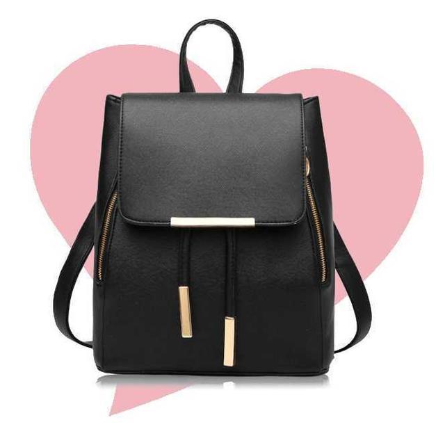 ブラックPUレザー リュックサック 大容量 可愛い3WAY レディースのバッグ(リュック/バックパック)の商品写真