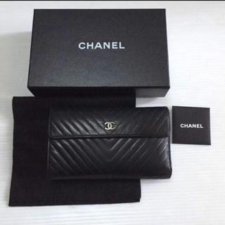 シャネル(CHANEL)の正規品 シャネル 黒 Vステッチ 三つ折り 長財布(財布)