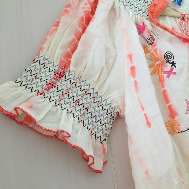オレンジ  刺繍 ♡ フリル トップス チュニック オフショル レディースのトップス(チュニック)の商品写真