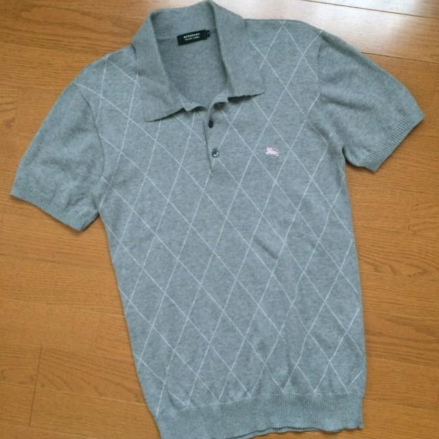 BURBERRY(バーバリー)の美品 BURBERRY BLACK LABEL 半袖ポロシャツ グレー サイズ3 メンズのトップス(ポロシャツ)の商品写真