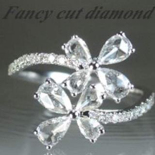 ペアシェイプ ローズカット ダイヤモンド1ct k18WG リング(リング(指輪))