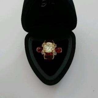 ◆新品◆  スワロフスキー リング  クリア×レッド(リング(指輪))