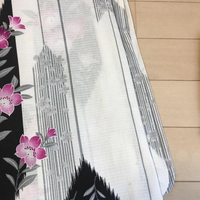 しまむら(シマムラ)の難あり格安!ホワイト×紫パープル浴衣&作り帯 レディースの水着/浴衣(浴衣)の商品写真