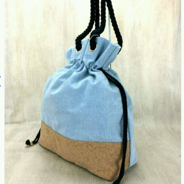 dazzlin(ダズリン)の新品ダズリン巾着キャンバス❤ショルダー トートハンドバッグ青インディゴブルー水色 レディースのバッグ(トートバッグ)の商品写真