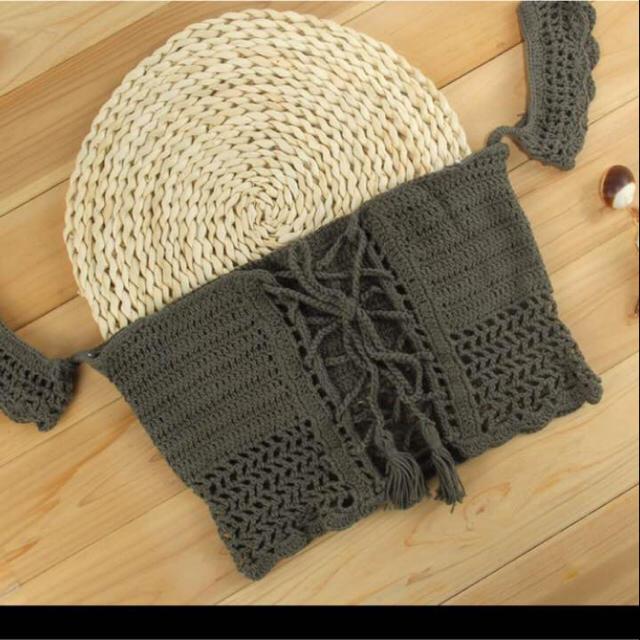 かぎ編み トップス ホワイト 白 フリーサイズ 2way レディースのトップス(キャミソール)の商品写真