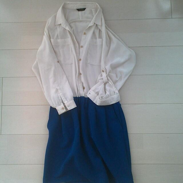 ABAHOUSE(アバハウス)のシャツ ドッキングワンピース ブルー レディースのワンピース(ひざ丈ワンピース)の商品写真