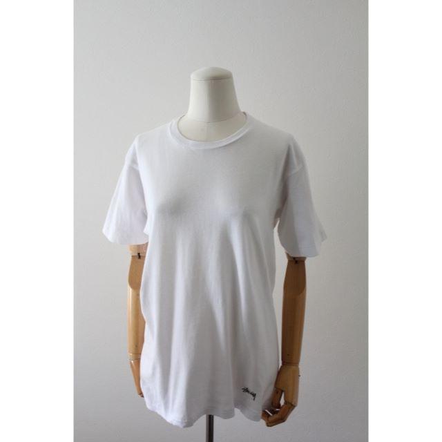 STUSSY(ステューシー)のSTÜSSY x Hanes  Tシャツ 白 古着 メンズのトップス(Tシャツ/カットソー(半袖/袖なし))の商品写真