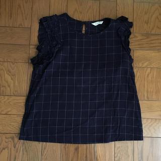 シマムラ(しまむら)のフリル袖☆ブロックチェック トップス(カットソー(半袖/袖なし))