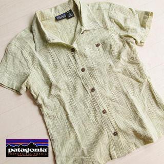 パタゴニア(patagonia)の美品 サイズ4 パタゴニア レディース半袖シャツ グリーン系(シャツ/ブラウス(半袖/袖なし))