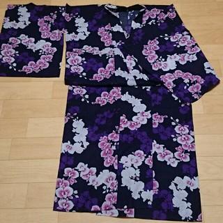 レディース浴衣 大きいサイズ 紫 胡蝶蘭(浴衣)