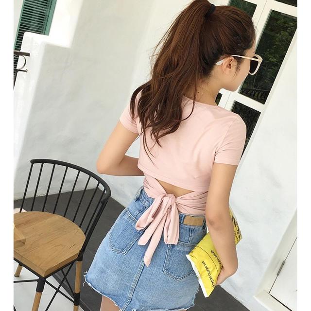 バックリボンデザインTシャツ(ピンク) レディースのトップス(カットソー(半袖/袖なし))の商品写真