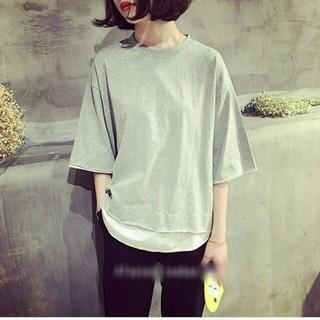 重ね着風ボックスTシャツ グレー(Tシャツ(長袖/七分))