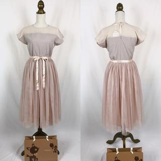 メルロー(merlot)の*新品* デコルテシースルー チュールスカート ドレス ワンピース モカ(ミディアムドレス)