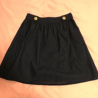 バーバリー(BURBERRY)のBurberrybluelabel ネイビーレーススカート(ひざ丈スカート)