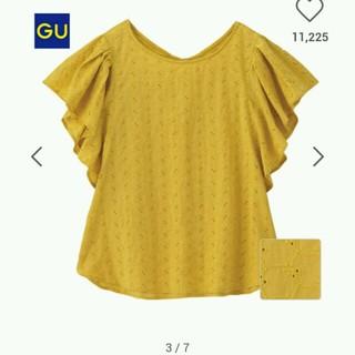 ジーユー(GU)のGU コットンレースフリルスリーブブラウス(シャツ/ブラウス(半袖/袖なし))