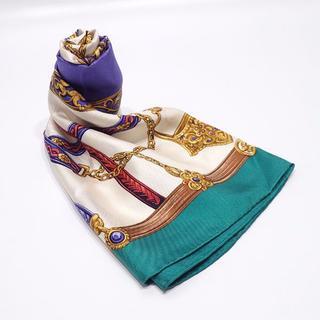 トラサルディ(Trussardi)のA7 中古【美品】トラサルディ スカーフ グリーン 約60cm×60cm(バンダナ/スカーフ)
