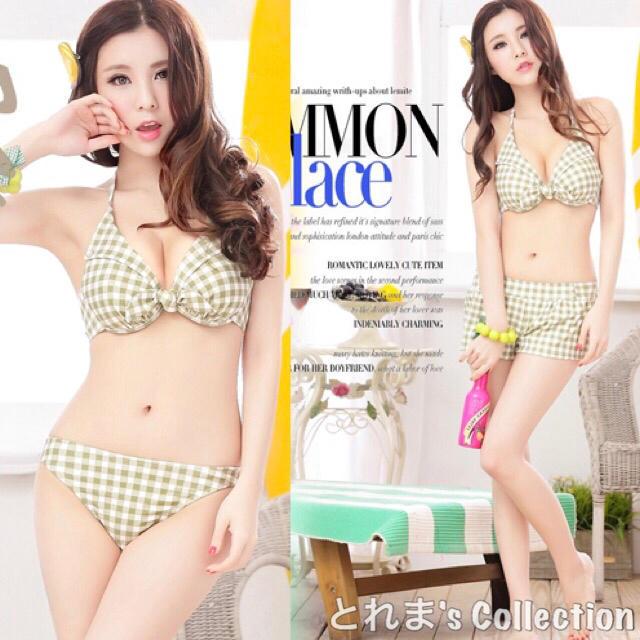 ふんわりグリーン♪ビキニ+ショーパン レディースの水着/浴衣(水着)の商品写真