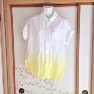 ダブルネーム(DOUBLE NAME)のダブルネーム トップス グラデーションシャツ 半袖 ブラウス イエロー(シャツ/ブラウス(半袖/袖なし))