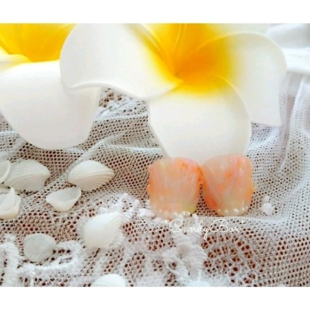 オレンジ 人魚の鱗*親指のみ フットジェルネイル ハンドメイドのアクセサリー(ネイルチップ)の商品写真