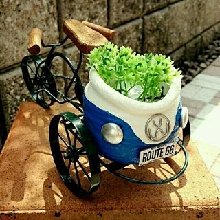 newワーゲン鉢(青)とインテリア三輪車(その他)