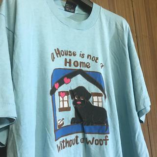 745 古着 プリント Tシャツ メンズ XLサイズ 水色 ビッグシルエット(Tシャツ/カットソー(半袖/袖なし))