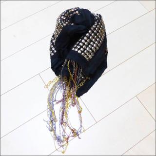 トラニ(Tolani)の新品 トラニ Tolani スタッズ チェーン ストール スカーフ ブラック (ストール/パシュミナ)