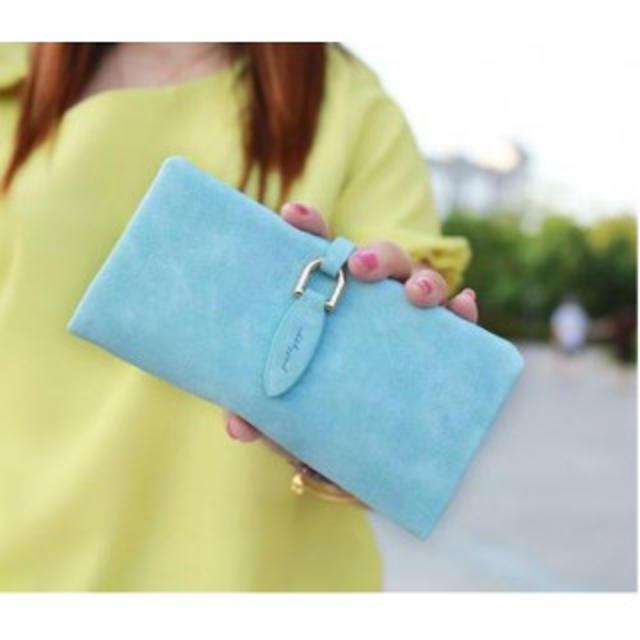 スウェード レザー 長財布 二つ折り 大容量 カードケース ベルト ブルー レディースのファッション小物(財布)の商品写真