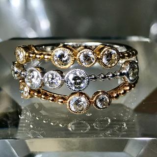 k18  マルチカラー ダイヤ1.00カラット ミルグレイン ☆36万円(リング(指輪))