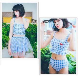 ハニーミーハニー(Honey mi Honey)のチュールスカート付きギンガムチェックビキニ(水着)