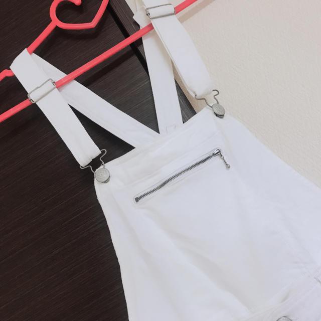 CECIL McBEE(セシルマクビー)の白のオーバーオール レディースのパンツ(サロペット/オーバーオール)の商品写真