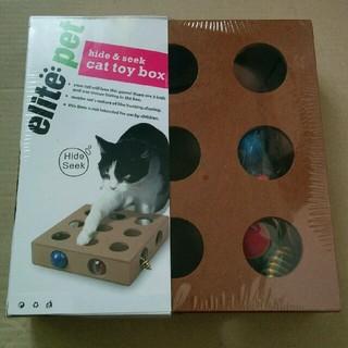 猫用おもちゃ ボール遊び 木製ボックス(猫)