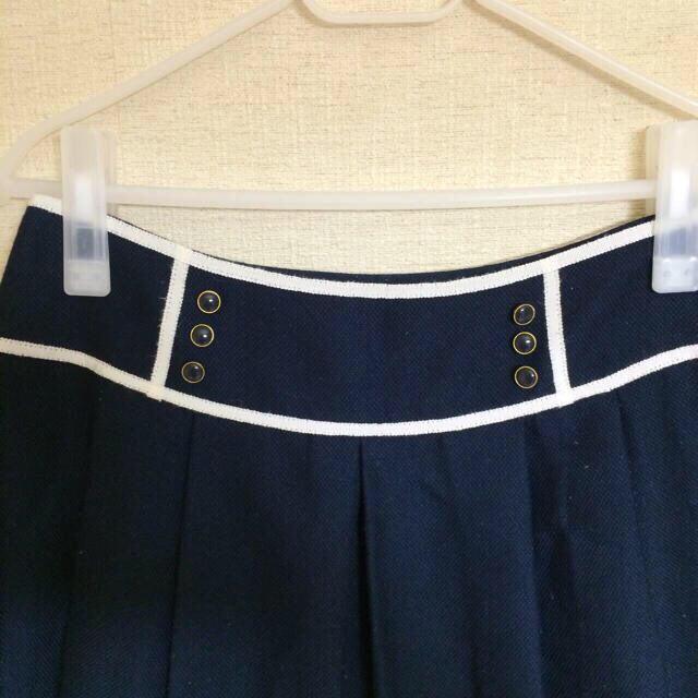 pour la frime(プーラフリーム)のお仕事で使える☆膝丈ネイビースカート レディースのスカート(ひざ丈スカート)の商品写真