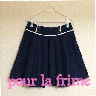 プーラフリーム(pour la frime)のお仕事で使える☆膝丈ネイビースカート(ひざ丈スカート)