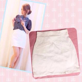 マーキュリーデュオ(MERCURYDUO)のホワイト タイトスカート♡(ミニスカート)