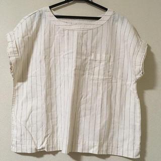 ジーユー(GU)のリネンTブラウス 白ストライプ(シャツ/ブラウス(半袖/袖なし))