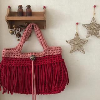 マルシェバッグ 赤×ピンク ハンドメイド tシャツ スパゲッティヤーン(バッグ)
