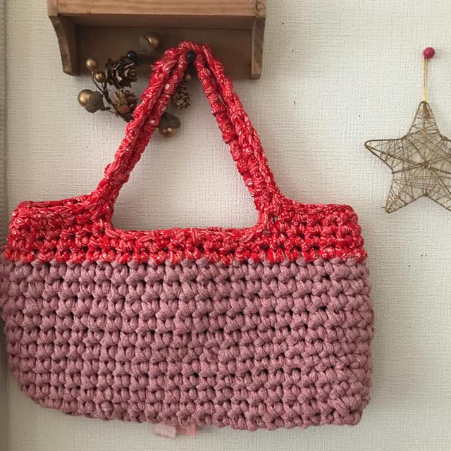 マルシェバッグ2 ピンク×赤ペイズリー ハンドメイド tシャツ スパゲッティ ハンドメイドのファッション小物(バッグ)の商品写真