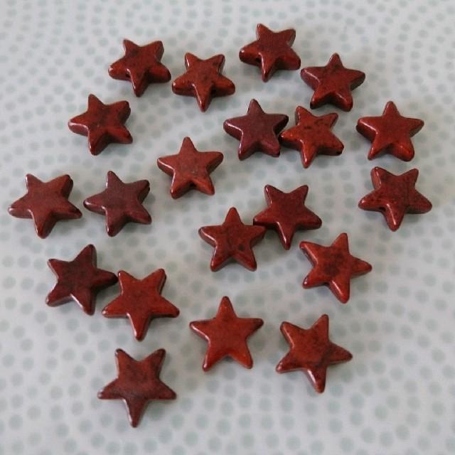 ブラウンターコイズ星形ビーズ ハンドメイドの素材/材料(各種パーツ)の商品写真