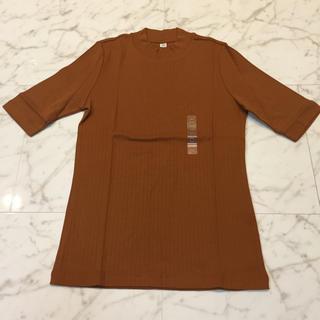 ユニクロ(UNIQLO)のUNIQLOリブハイネックT(五分袖)(Tシャツ/カットソー(半袖/袖なし))