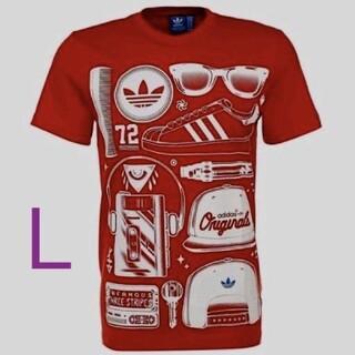 アディダス(adidas)の新品未使用タグ付き アディダス オリジナルス Tシャツ トレフォイル L レッド(Tシャツ/カットソー(半袖/袖なし))