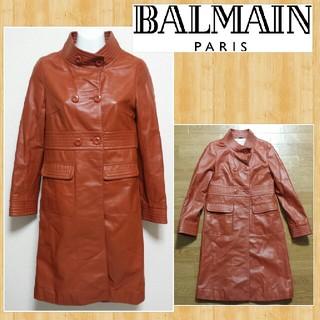 バルマン(BALMAIN)の購入20万円 BALMAIN バルマン 高級ラムレザーコート 超美品 羊革 5(ロングコート)