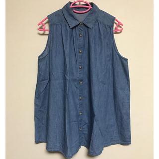 ノースリーブ デニム風ゆったりシャツ(シャツ/ブラウス(半袖/袖なし))