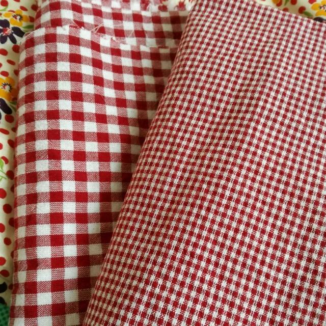 赤 チェック ハンドメイドの素材/材料(生地/糸)の商品写真