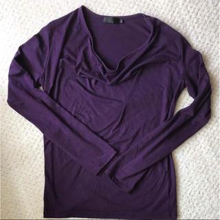 メンズ Mサイズ ドレープ ロンT 長袖 紫 パープル(Tシャツ/カットソー(七分/長袖))