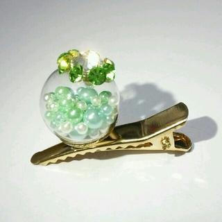 ガラスドーム✨ヘアアクセサリー緑✨No.HH-61◎浴衣にも(ヘアアクセサリー)